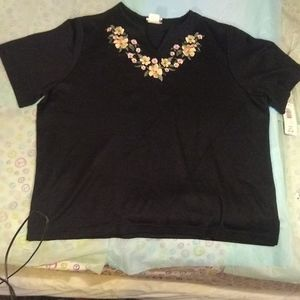 NWT Bon Worth Floral Embroidered Shirt - Size XL